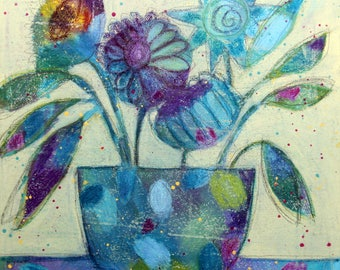 FOXTROT, Original Mixed Media Floral Painting on Canvas, FRAMED, By Pennsylvania artist Merrill Weber, Flowers, Contemporary Flower Painting