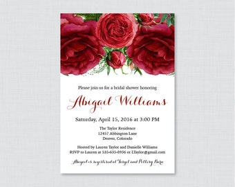 Red Roses Bridal Shower Invitation Printable or Printed - Red and Green Floral Bridal Shower Invites - Winter, Christmas Invitations 0026