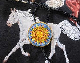 Beaded BOLO TIE ~ Beaded Sun Medallion Bolo Tie ~ Black Leather Bolo Tie ~ Beadwork  Bolo Tie ~ Mens Bolo Tie ~ Custom Bolo Tie
