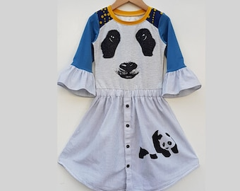 Size 6+ girls dress, panda, cute, ruffle sleeve, bell sleeve dress, upcycled dress, kids clothing, children's clothing, handmade, upcycling