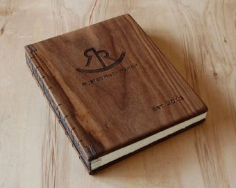 custom wood logo engraved  cabin or wedding guest book black walnut rustic anniversary gift memorial book  retirement gift - made to order