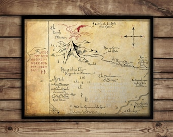 Lord of The Rings map poster print - middle earth map - Tolkien Hobbit map - lotr - Thorin's map - poster print, canvas and framed options