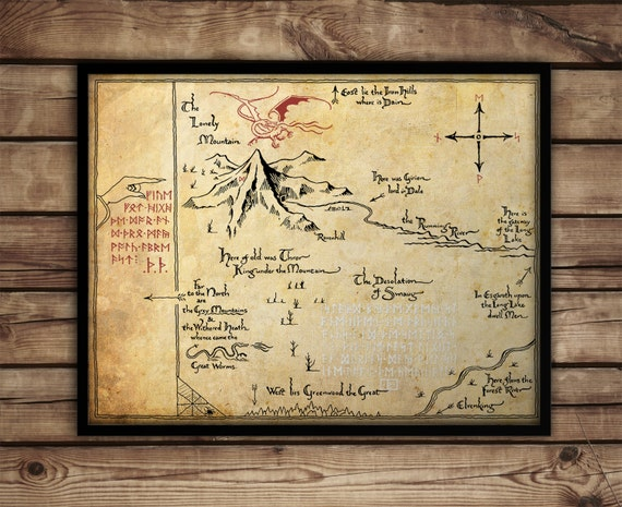lord of the rings map poster print middle earth map