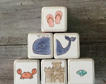 Wooden Baby Block Set - set of 6 - navy, aqua, coral - nautical