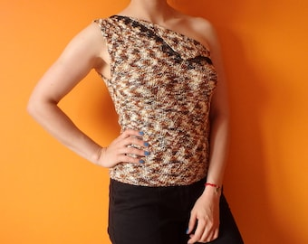 Asymmetric Hand Knitted Top Microfiber Brown Melange