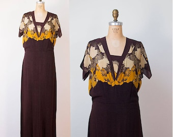 1930s Dress / 30s Lame and Chiffon Gown
