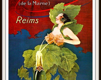 French Poster circa 1915 Morlant Champagne - Bar Decor - Kitchen Decor - Wine Poster - Giclee Fine Art Print