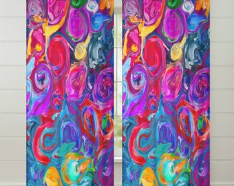 Boho Chic Crazy Abstract  Window Curtains or Valance Colorful Window Treatments