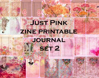 Set 2 Just Pink ZINE Printable Journal- instant download