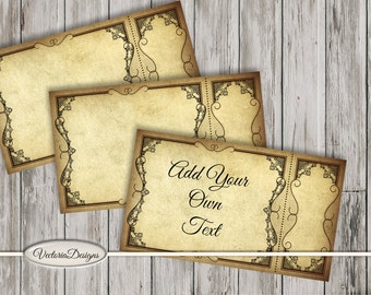 Blank Tickets Printable paper crafting scrapbooking diy add text steampunk sepia details digital download instant digital sheet - VDTIVI1529