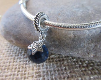 Authentic Pandora Moon & Star Midnight blue crystal, clear cz 791392NBC  Free Velvet Pouch Bag