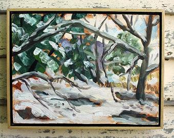 """Frozen River, Karme Choling, Vermont, Plein Air Landscape Oil Painting, 9x12"""""""