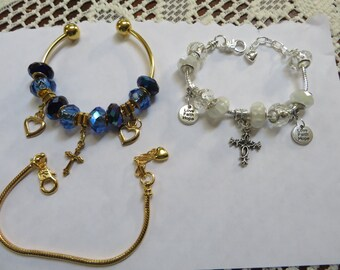CHRISTIAN CROSS BRACELET      Have Faith Bracelet     First Communion Gift   Love Faith Hope charm