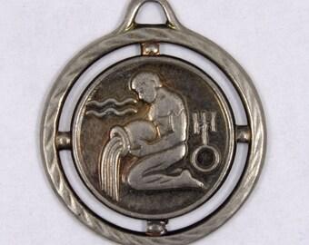 20mm Antique Silver Aquarius Charm  #1352