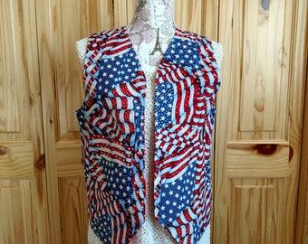 Vest, Blued Waving Flag Vest, American Flag, USA, United States, America