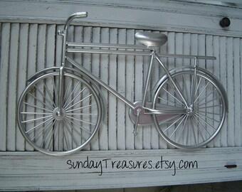 SILVeR Chrome BICYCLE BIKe Metal Wall Sculpture Retro Decor Paris Apartment Shabby Beach Cottage Chic / Urban / Industrial