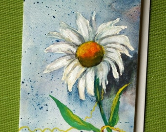 Daisy 3 - Hand Painted Watercolor Floral Greeting Card