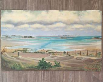 Original Seascape, Vintage Beach Painting, Original Art, Unframed Painting, Vintage Painting, Vintage Texas Art