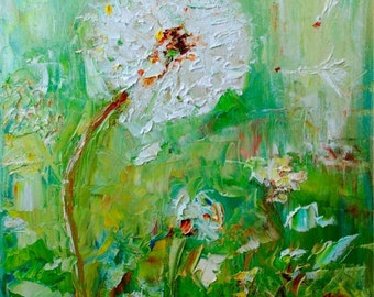 Things Wished For-FINE ART PRINT Abstract Impressionism Dandelion Oil Painting