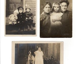 Vera and family, three antique rppc photos of same little girl