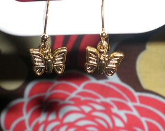 Gold Tone Butterfly Earrings with Gold Plated Hooks