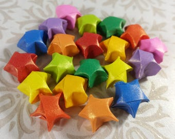 20 Bright Rainbow Sheen Smaller Origami Stars - Rainbow Lucky Star Set - Tiny Paper Stars - Celestial Confetti, Gift Enclosure, Table Decor