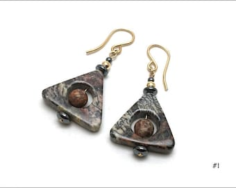 Silver Leaf Jasper Earrings - Triangle with Centre Hole