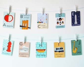 NYC Alphabet Card Set, Nursery Wall Cards, New York City Alphabet Flash Cards, Alphabet Fine Art Prints, ABC Cards, Ready to Ship May 4