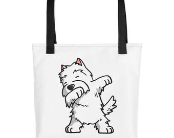 Funny Dabbing Westie Tote bag, Cute West Highland White Terrier Dog bag