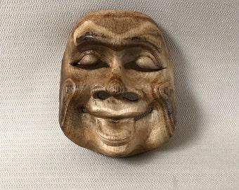 Wooden Asian Theater  Mask Wall Art #1  Wood Hand Carved 3 Dimensional OOAK Folk Art