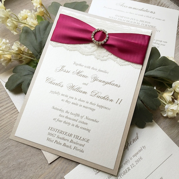 JESSI - Lace Wedding Invitation with Gold Rhinestone Buckle - Ivory Lace and Wine Ribbon on Ivory and Champagne Shimmer Card Stock