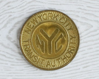 "1980 ""Solid Brass NYC"" New York City Subway Token NYCTA MTA Transit Authority (Almost Uncirculated)"