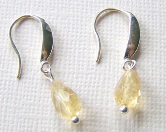 Citrine Drop Earrings, Pale Yellow Gemstones, Sterling Silver, Modern Citrine Jewelry, Dainty Pastel Earrings, Graduation Gift Idea