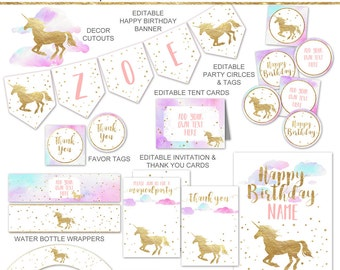 Unicorn Party Printables Package, Pastel Pink and Gold Unicorn Party Decorations, Unicorn Birthday Party Decor, Editable INSTANT DOWNLOAD