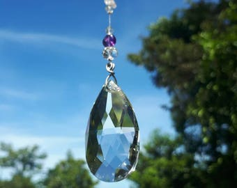 Hanging Crystal Suncatcher Amethyst,Tourmaline mixed bead pendant