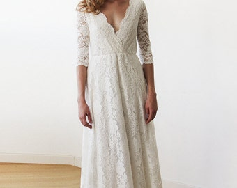 Three Quarters Sleeves Lace Wedding Dress, Ivory Lace Wedding Empire Dress 1124, Lace Bridal Gown, Lace Wedding Dress