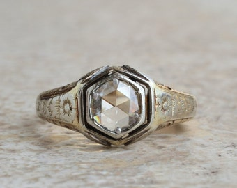 Authentic Edwardian 1,70 Ct solitaire diamond rare gent ring