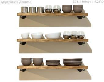 "Set of 3 Rustic Floating Shelves, 10"" Depth, Pipe Brackets, Open Kitchen Shelves, Industrial Shelving, Open Shelves, Farmhouse Kitchen"