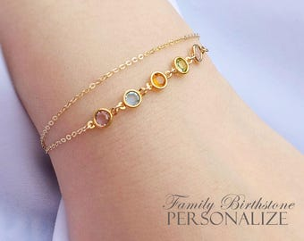 Birthstone Bracelet Gold, Gift for mom, Family tree bracelet, Personalized Mothers Gift, Grandmother Bracelet, Christmas gift for her