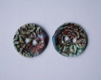 2 ceramic buttons, raku, turquoise, blue, copper, hand made, OOAK