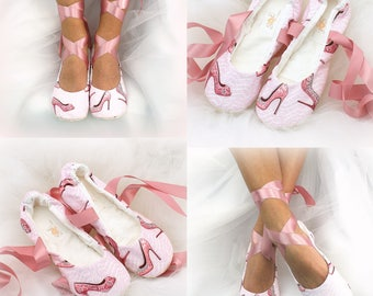 Wedding Ballet Flats Shoes Pink Dusty Rose Ballet Slippers Cotton Print Lace Up Flats Bridal Shoes Flats Bride Ballet Shoes