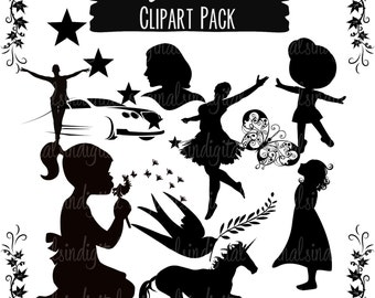 80% OFF SALE Sassy Silhouettes clipart lady, girl, flower, bird, commercial use, vector graphics, digital clip art, digital images - pack 65
