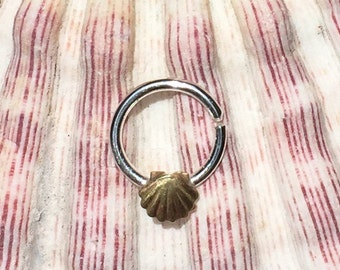 solid silver septum ring with brass seashell