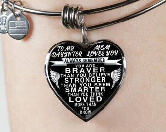 To my daughter from mom - luxury steel bangle bracelet