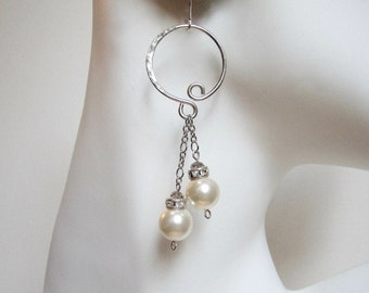 Pearl Hoop Earrings Pearl Earrings Hoop Earrings Pearl Dangle Earrings Sterling Silver Hoops Wedding Earrings