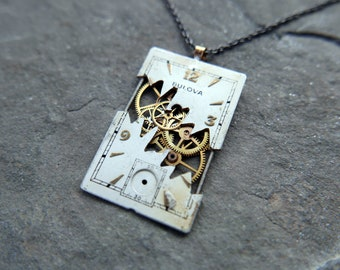 """Watch Dial Necklace """"Cacek"""" Deconstructed Cut Face Pendant Recycled Upcycled Gear Art Steampunk A Mechanical Mind Gift Idea"""