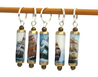 Boat knitting stitchmarkers, set of 5 lightweight sailing ships knit stitch markers, knitting accessories, knitters gifts handmade in the UK