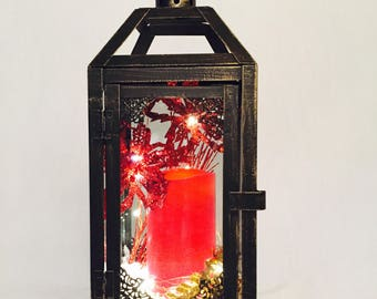 Small Christmas Lantern / shipping included / lantern with candle / Black Red and Gold Lantern / table centrepiece / LED