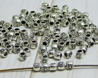 100pcs - 3mm - Silver Spacer Beads - Silver Spacers - Barrel Beads - Flower Spacers - 3mm Spacers - Pewter Beads - Lead Free  - (804)