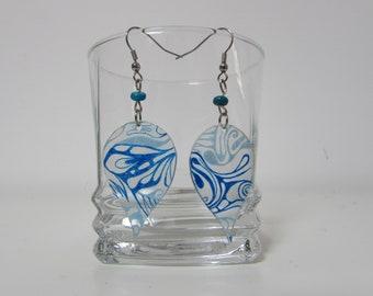 Earrings drops blue